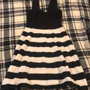 Trina Turk Black and White Stripe Fitted Dress